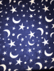 Polar Fleece Anti Pill Washable Soft Fabric- Moon & Stars Blue SQ307 RBLWH