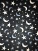 Polar Fleece Anti Pill Washable Soft Fabric- Moon & Stars Black SQ307 BKWH