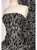 100% Viscose Light Weight Woven Material- Black Zebra SQ331 BKIV