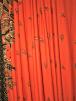 Viscose Cotton Stretch Lycra Fabric- Orange/Black Paisley SQ350 ORBK