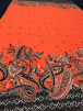 20 METRES Viscose Cotton Stretch Lycra Fabric Wholesale Roll- Orange/Black Paisley JBL234 ORBK