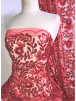Showtime Sequins Dress/Dance Net Fabric- Coral Floral Embroidery SEQ72 CRL