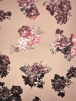 Scuba Stretch Foil Print Poly Lycra Fabric- Nude/Wine Floral Roses SCB207