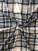 Polar Fleece Anti Pill Washable Soft Fabric- Hatched Tartan Grey/Black SQ384 GRBK