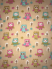Polar Fleece Anti Pill Washable Soft Fabric- Forest Owls SQ409 STNMLT