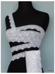 White Sequin Scalloped Edging Stretch Lace Trim