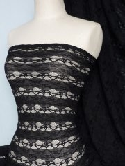 Lace 4 Way Stretch Stripe Fabric- Black Q585 BK