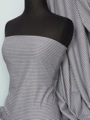 "Poly Cotton Material- Black 1/8"" Check Gingham Q563 BK"
