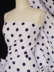 Poly Cotton Material- Navy Polka Dots Q708 NY