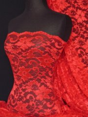 Lace Scalloped Floral Stretch Lycra Fabric- Red Q615 RD
