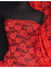 Lace Rose Flower Stretch Fabric- Red Q963 RD