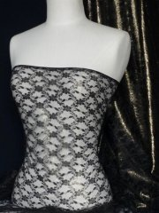 Victorian Design Antique Gold Shimmer Lightweight Non-Stretch Lace- Black Q930 BKGD