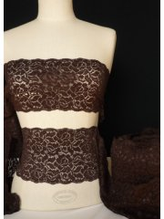 Chocolate Brown Flower Design Lace Trimming