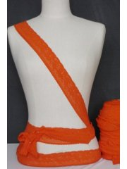 Fluorescent Orange Flower Design Lace Trimming