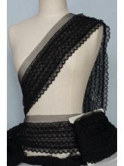 Scalloped Pleated Net Trimming- Elegant Black SY56 BK