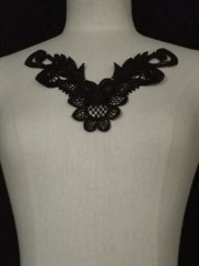 Beaded Sequin Neck Piece- Jet Black EM139 BK