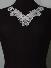 Sequin Floral Lace Neck Piece- Angel White EM140 WHT