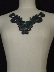 Sequin Floral Lace Neck Piece- Navy Blue EM140 NYBL