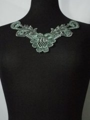 Sequin Floral Lace Neck Piece- Paradise Green EM140 PDSGR