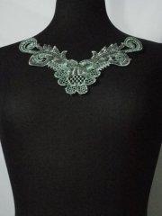 Sequin Floral Lace Neck Piece- Paradise Green EM140 PDSGR
