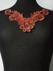Sequin Floral Lace Neck Piece- Rust Orange EM140 RSOR
