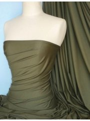 Viscose Cotton Stretch Lycra Fabric- Khaki Green Q300 KHGR