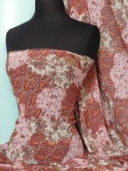 Chiffon Soft Touch Sheer Fabric- Pink Paisley Patch Q378 PN