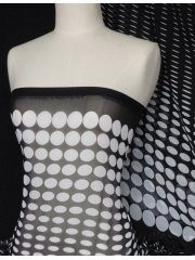 Chiffon Soft Touch Sheer Fabric - Retro Polka Dots Q400 BKWHT