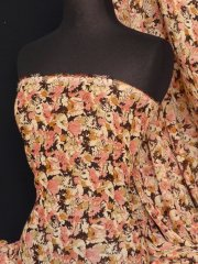 Chiffon Soft Touch Sheer Fabric- Peach Molly Floral Q482 PCH