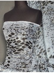 Chiffon Soft Touch Sheer Shimmer Fabric- Metallic Grey Abstract Q608 MGR
