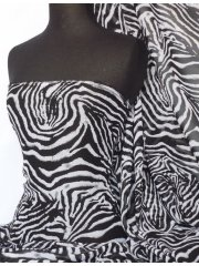 Chiffon Soft Touch Sheer Fabric- Zebra Q687 BKWHT