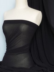 Crinkle Chiffon Soft Touch Sheer Fabric Material- Black Q795 BK