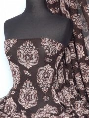 Helenka Mesh Paisley Sheer Material- Brown Q920 BR