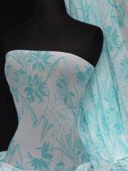 Helenka Mesh Floral Sheer Stretch Material- White/Blue Q937 WHTBL