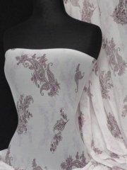 Helenka Mesh Paisley Sheer Material- Cream/ Purple Q938 CRMPPL
