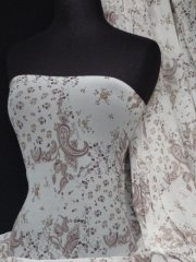 Helenka Mesh Paisley Sheer Material- Cream/ Brown Q939 CRMBR