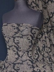 Helenka Mesh Paisley Sheer Material- Black/ Brown Q940 BKBR