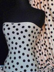 Viscose Cotton Stretch Fabric- Polka Dots Peach/Black Q768 PCHBK