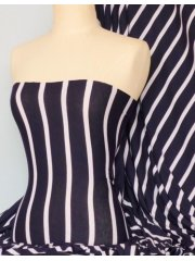 Viscose Cotton 4 Way Stretch Fabric- Wide Stripe White/Navy Q273 NYWHT