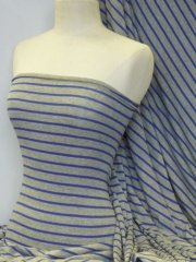 Viscose Cotton Stretch Fabric- Stripe Grey/Royal Blue Q880 GRRBL