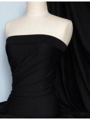 100% Cotton Interlock Knit Soft Jersey T-Shirt Fabric- Jet Black Q60 JBLK