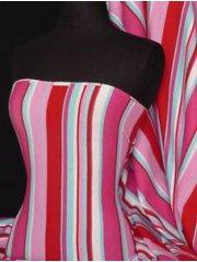 Soft Fine Rib 100% Cotton Knit Material- Red Multi Stripe RD-MLT