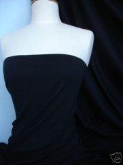 Soft Fine Rib 100% Cotton Knit Material - Black Q61 BK