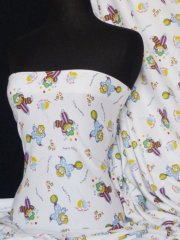 "100% Cotton Interlock Knit Soft Jersey T-Shirt Fabric- ""Little Clown"" Q746 MLT"