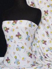 """100% Cotton Interlock Knit Soft Jersey T-Shirt Fabric- """"Little Clown"""" Q746 MLT"""