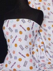 100% Cotton Interlock Knit Soft Jersey T-Shirt Fabric- Baseball Motif Q750 MLT