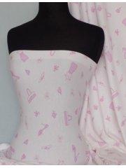 100% Cotton Interlock Knit Soft Jersey T-Shirt Fabric- Pink Hand Bag Q234 PN