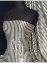 100% Viscose Silver Foil Fabric- Olive Stripe Q760 OLV
