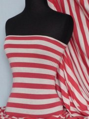 100% Viscose Fabric- Stripe Red/Cream Q616 RDCRM