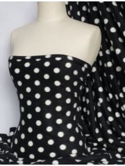 Polar Fleece Anti Pill Washable Soft Fabric- Black/White Polka Dots Q44 BKWHT